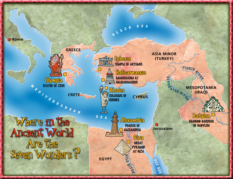 7 wonders of the ancient world map collection 7 wonders of the ancient world gumiabroncs Choice Image