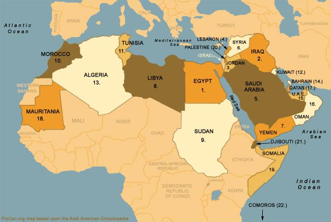 خريطة العالم العربي والاسلامي الحغرافية