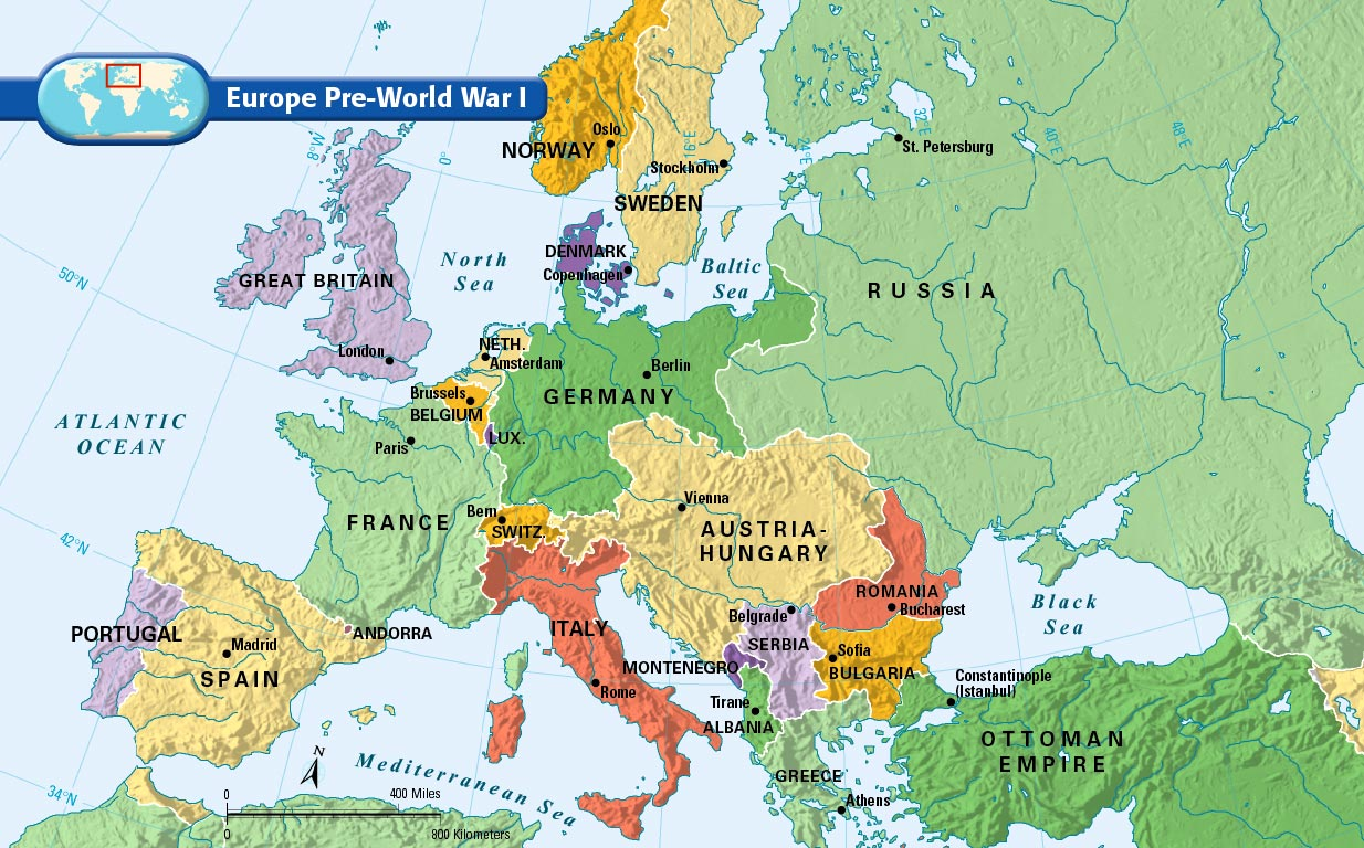 Pre World War 1 Map of Europe - 1910