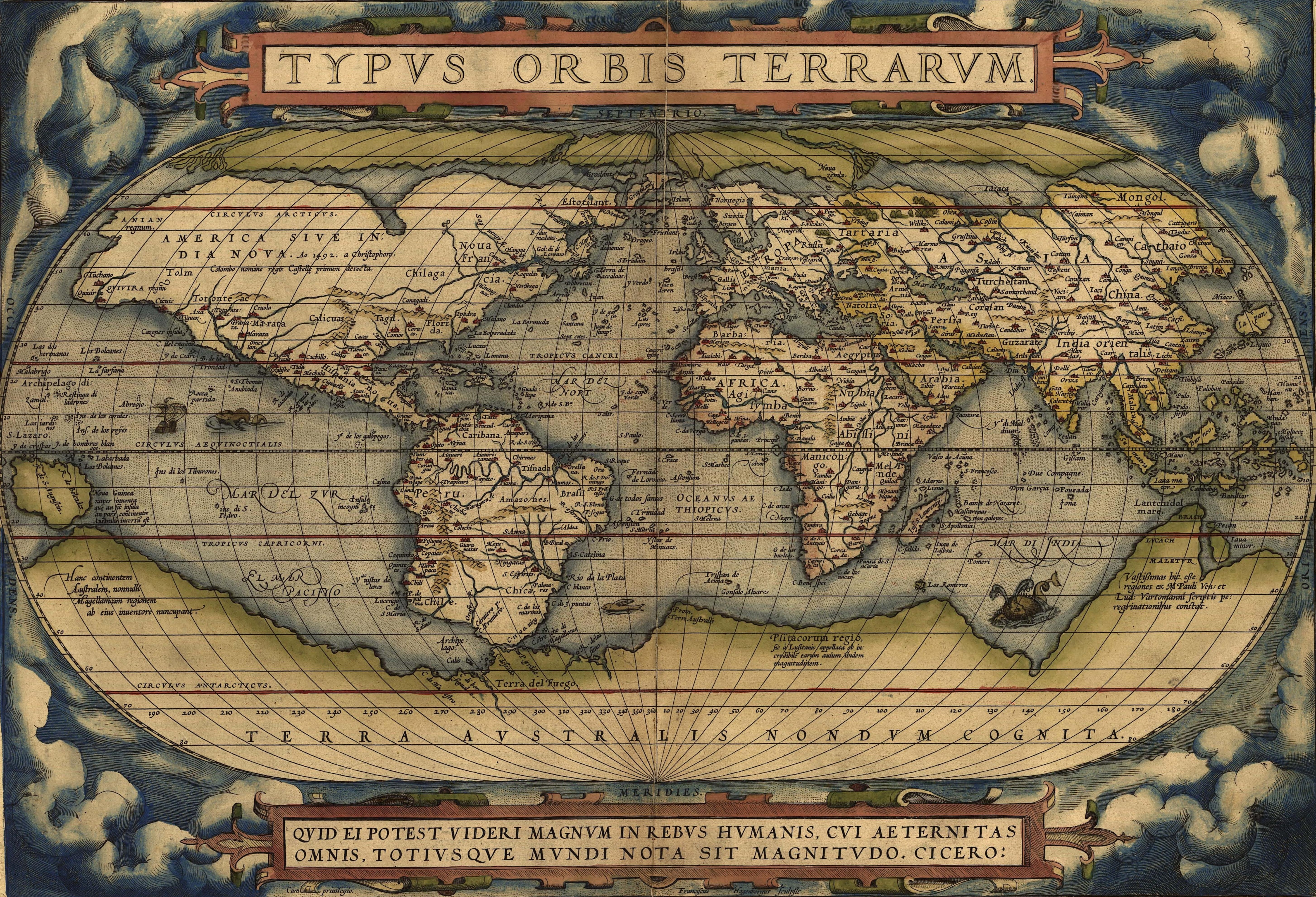 The first modern atlas by Abraham Ortelius 1570 Map Collection