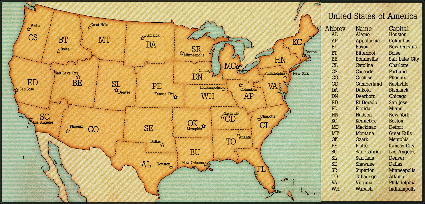 USA States And Capitals By AlternateHistorycom Map Collection - Us map with states capitals and abbreviations