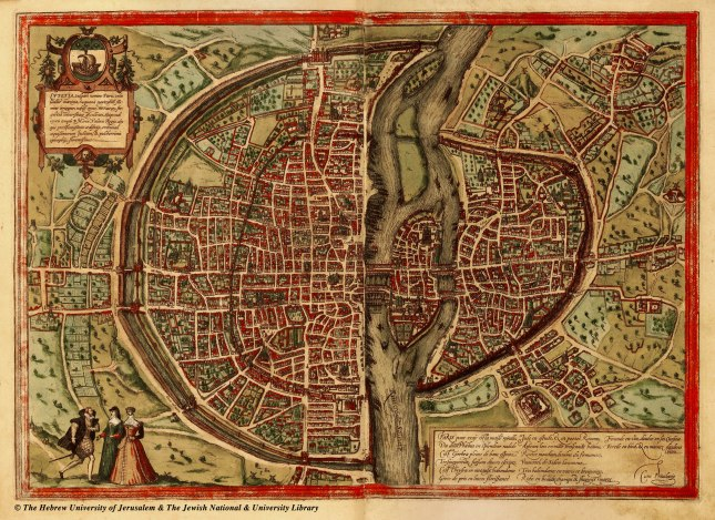 Map of Paris, France, 1569