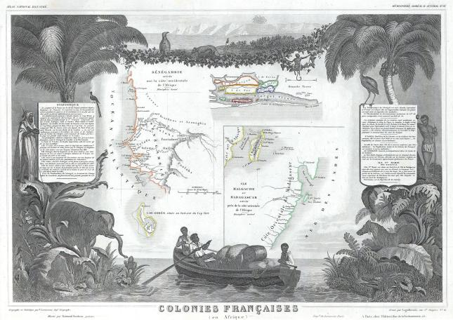 Levasseur Map of Senegal, Gambia and Madagascar, 1848