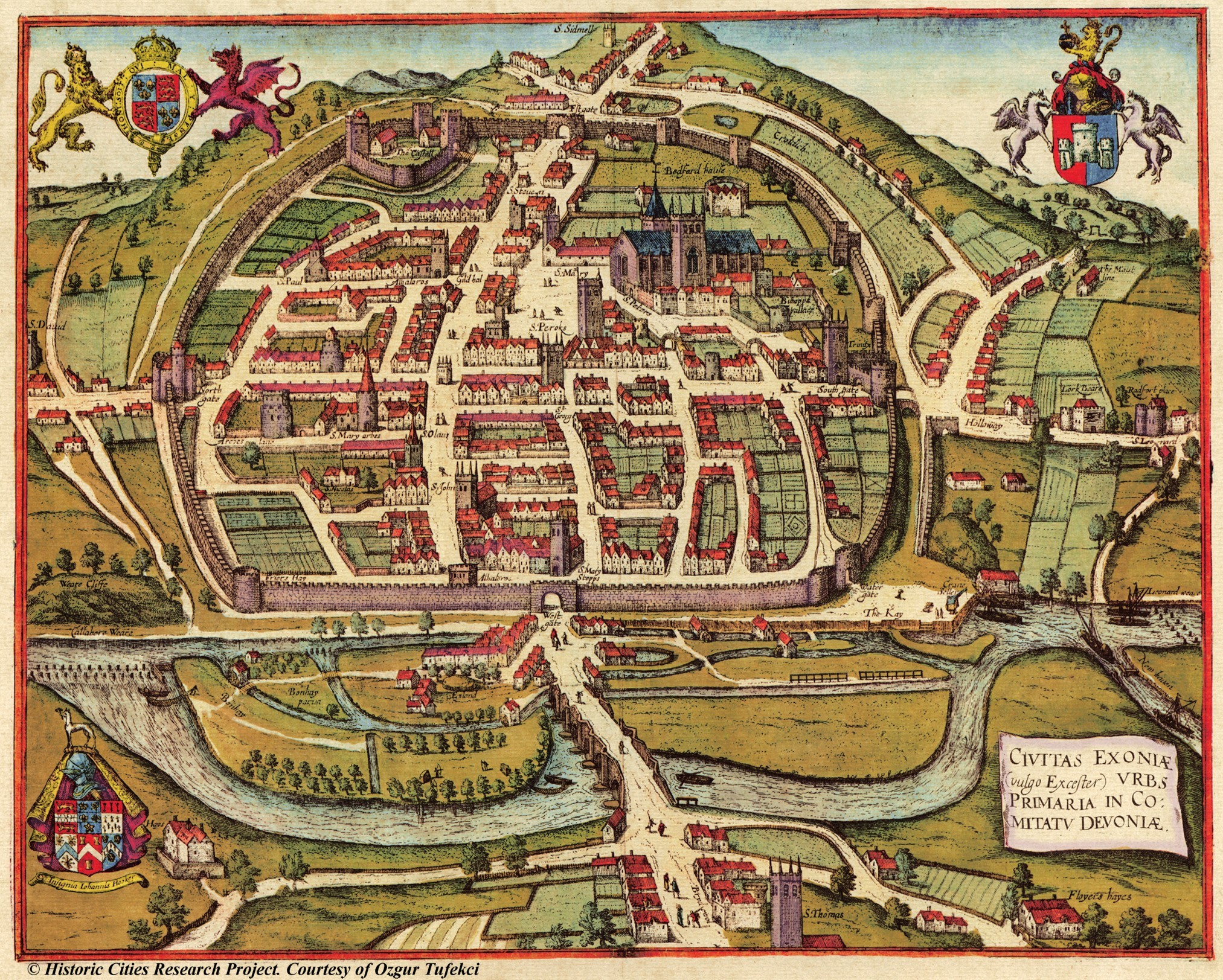 Medieval Exeter England Map Collection