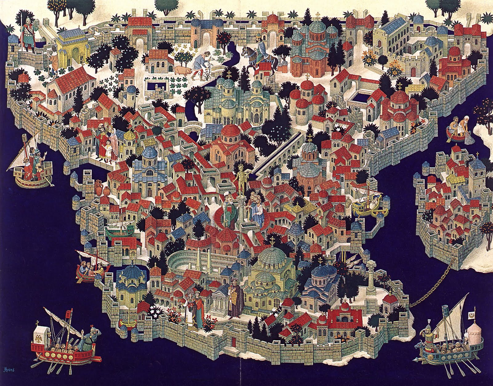 Illustrated Map Of Constantinople Map Collection - Ancient rome map byzantium