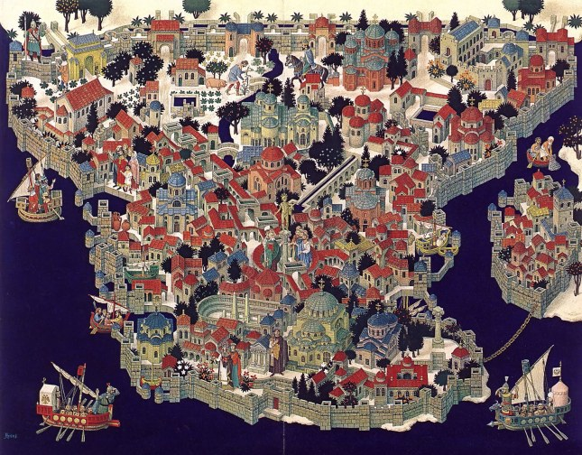 Illustrated map of Constantinople