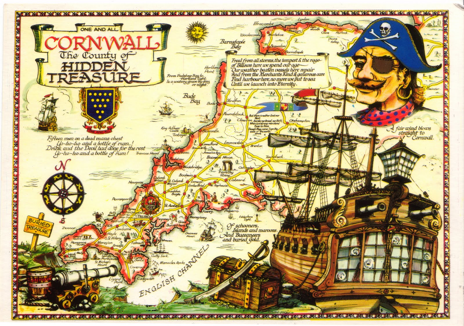 Pirate Map Of Cornwall England