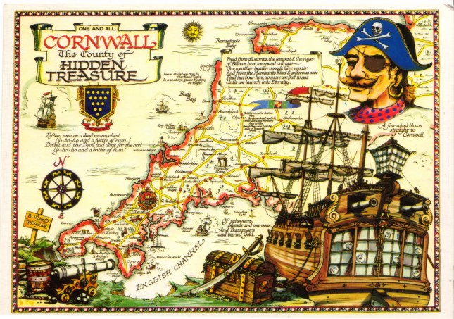 Pirate map of Cornwall, England