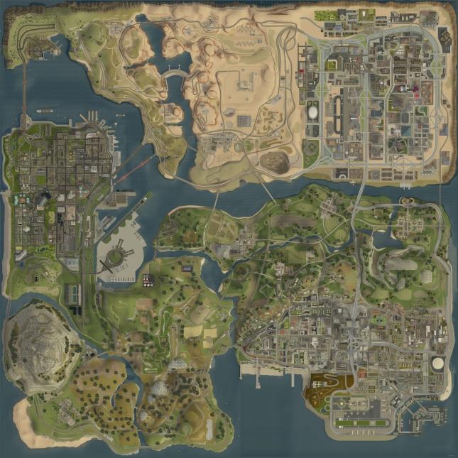 GTA San Andreas real world map