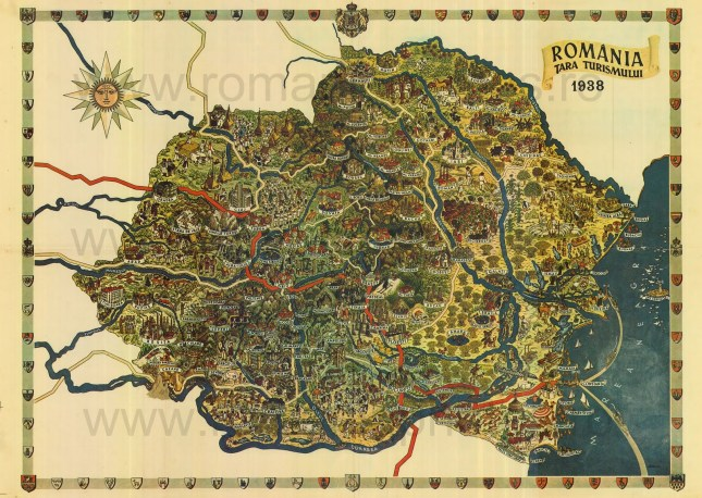 Romanian tourism map of 1938
