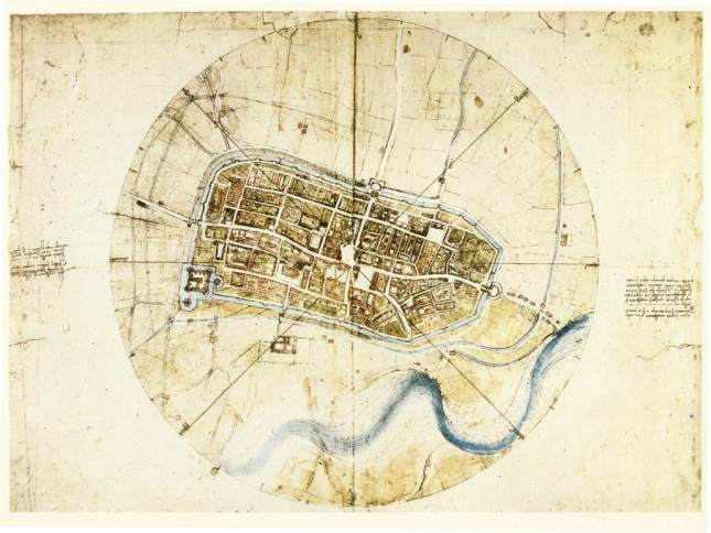 Map of Imola by Leonardo DaVinci, 1502