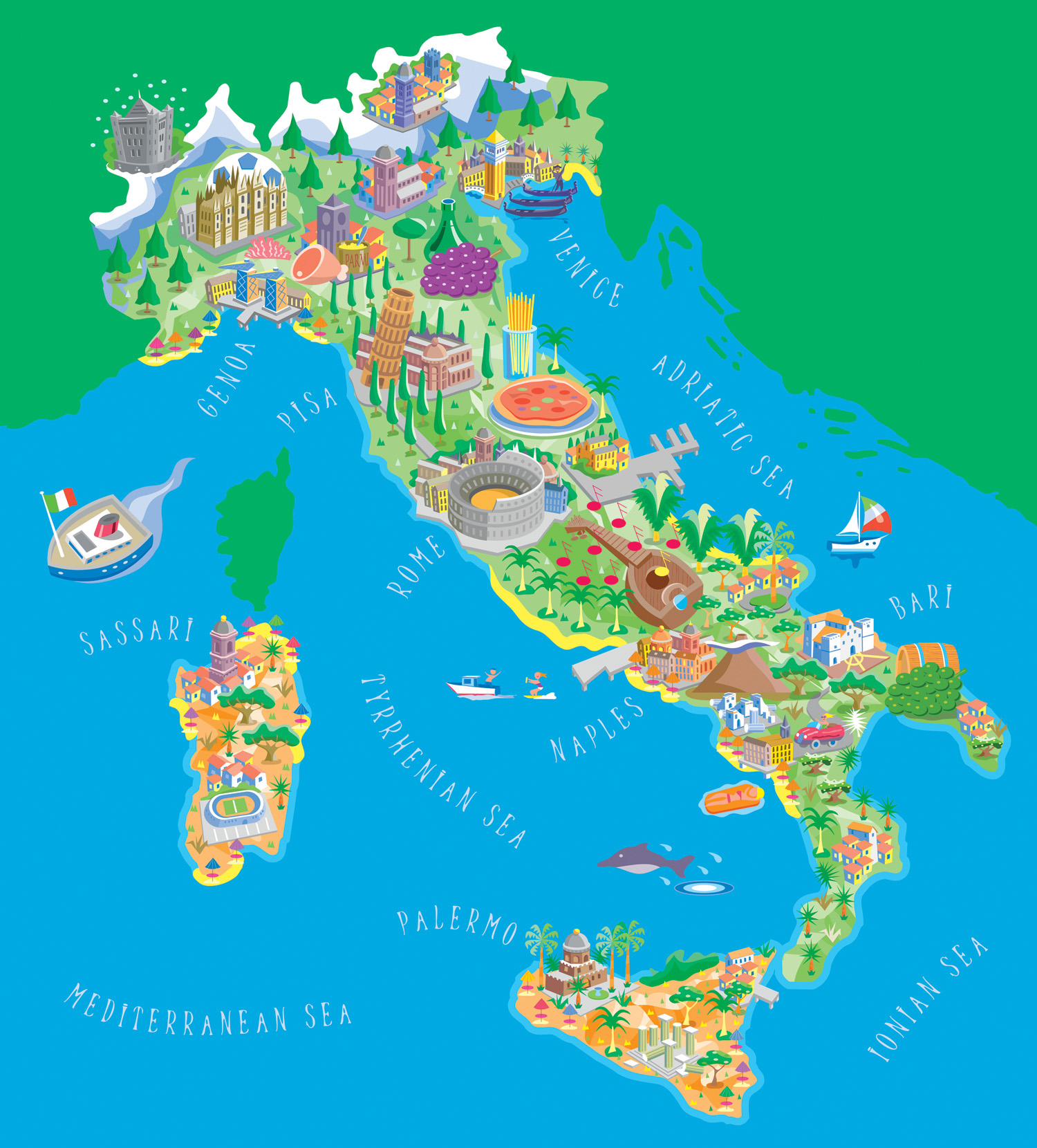 Illustrated map of Italy | Map Collection