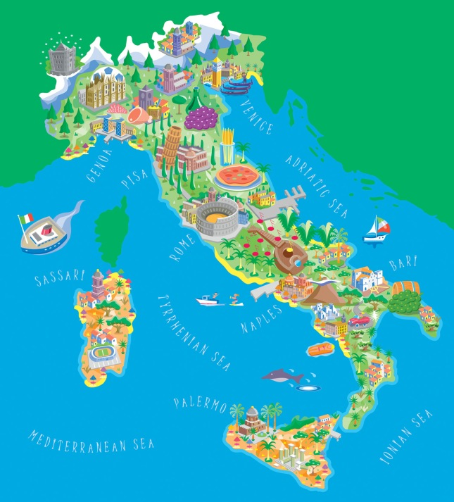 Illustrated map of Italy