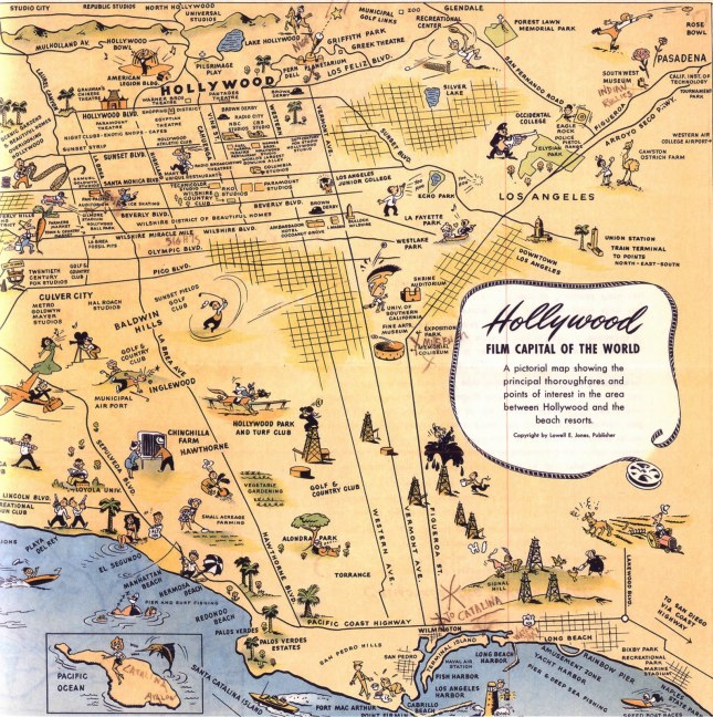 Pictorial map of Hollywood, LA