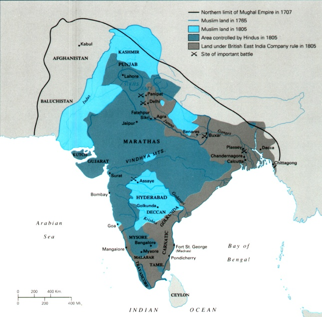 Map of British and Mughals in India