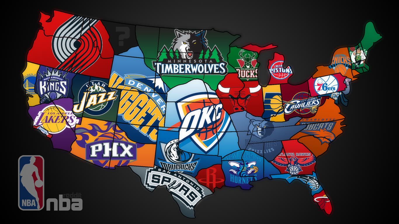 Nba America Map NBA Fan Map | Map Collection