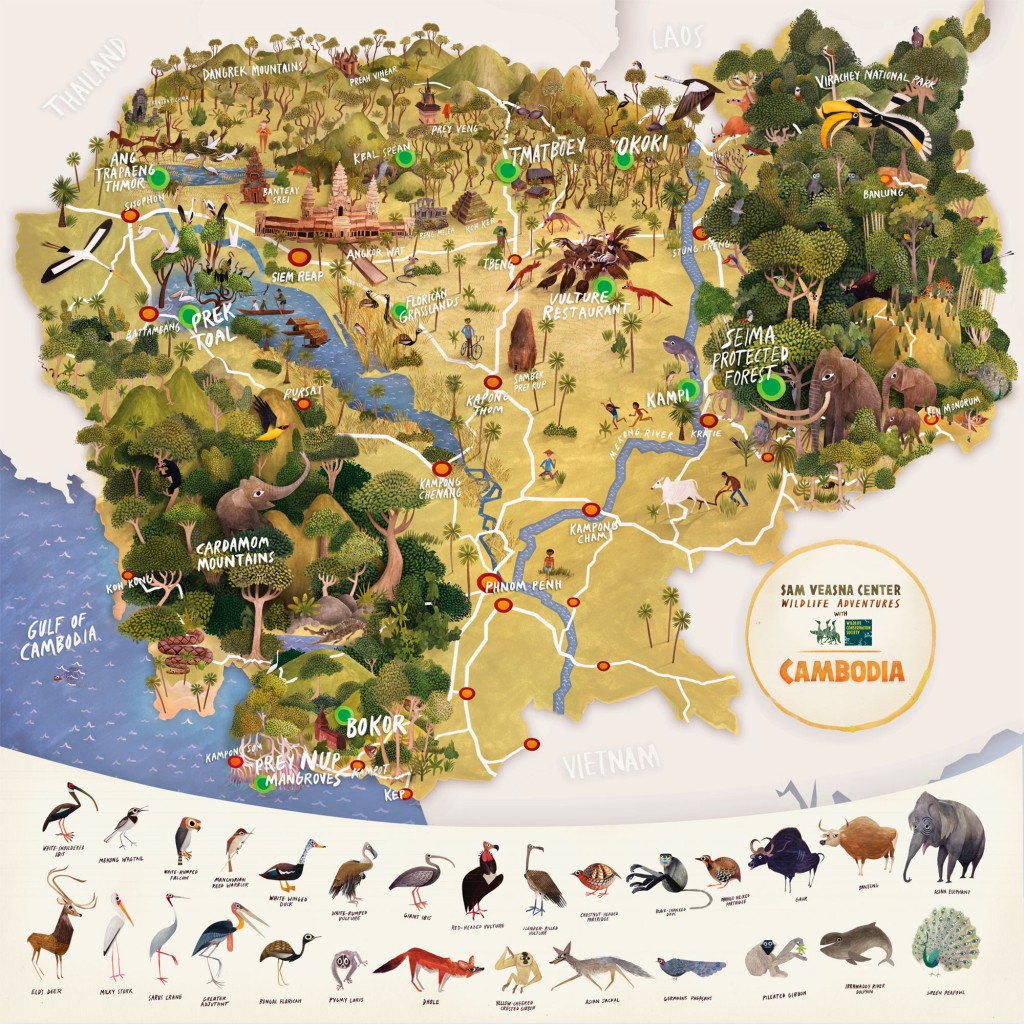 Pictorial Map Of Cambodia Map Collection - Cambodia map