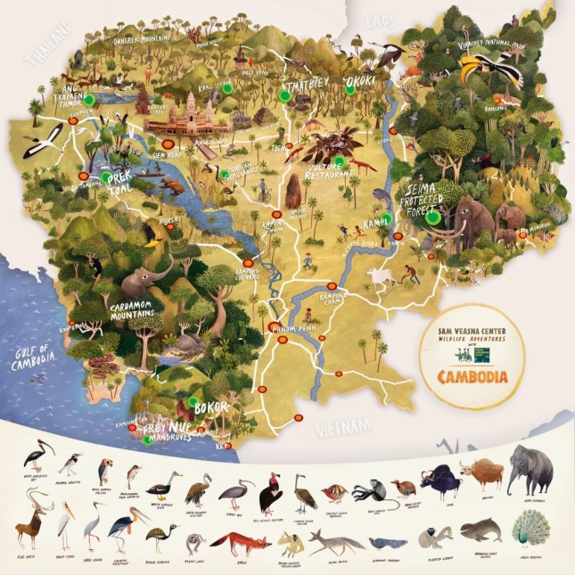 Pictorial map of Cambodia