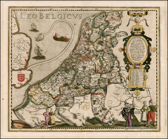 Leo Belgicus by Kaerius, 1617