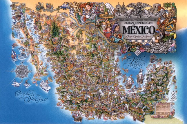 Artistic cultural and tourist Mexico map