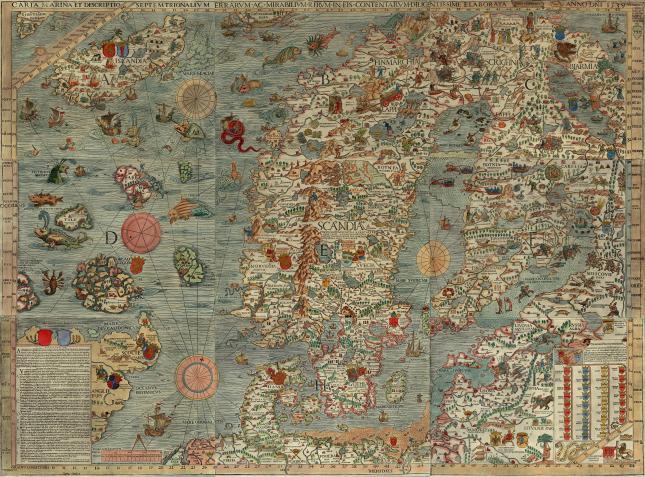 Carta Marina by Olaus Magnus, 1490–1557