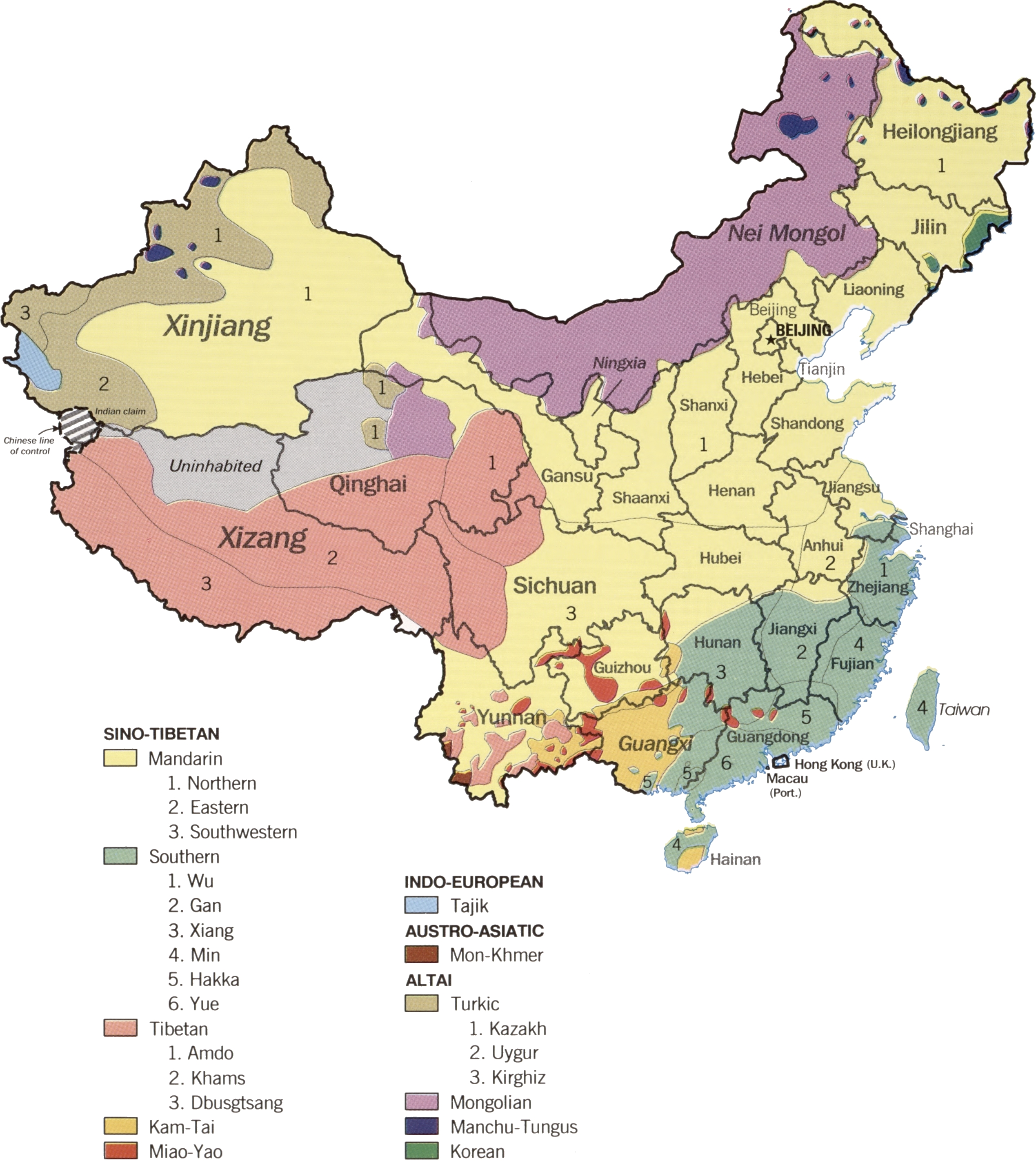China Linguistic Map Map Collection - Linguistic map of the world