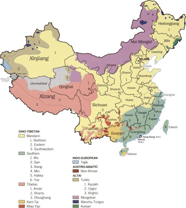 China linguistic map