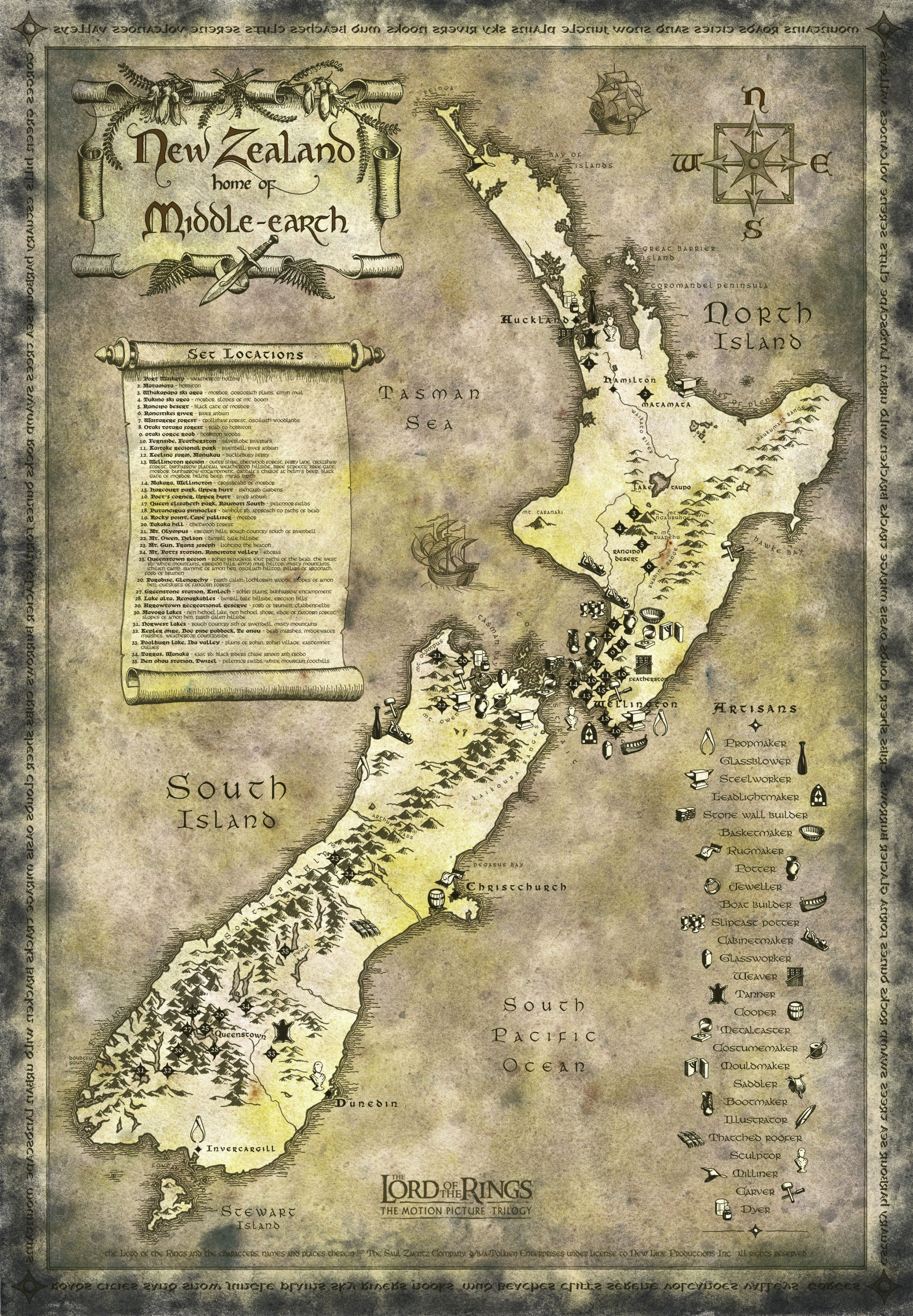 new zealand lord of the rings tourist map