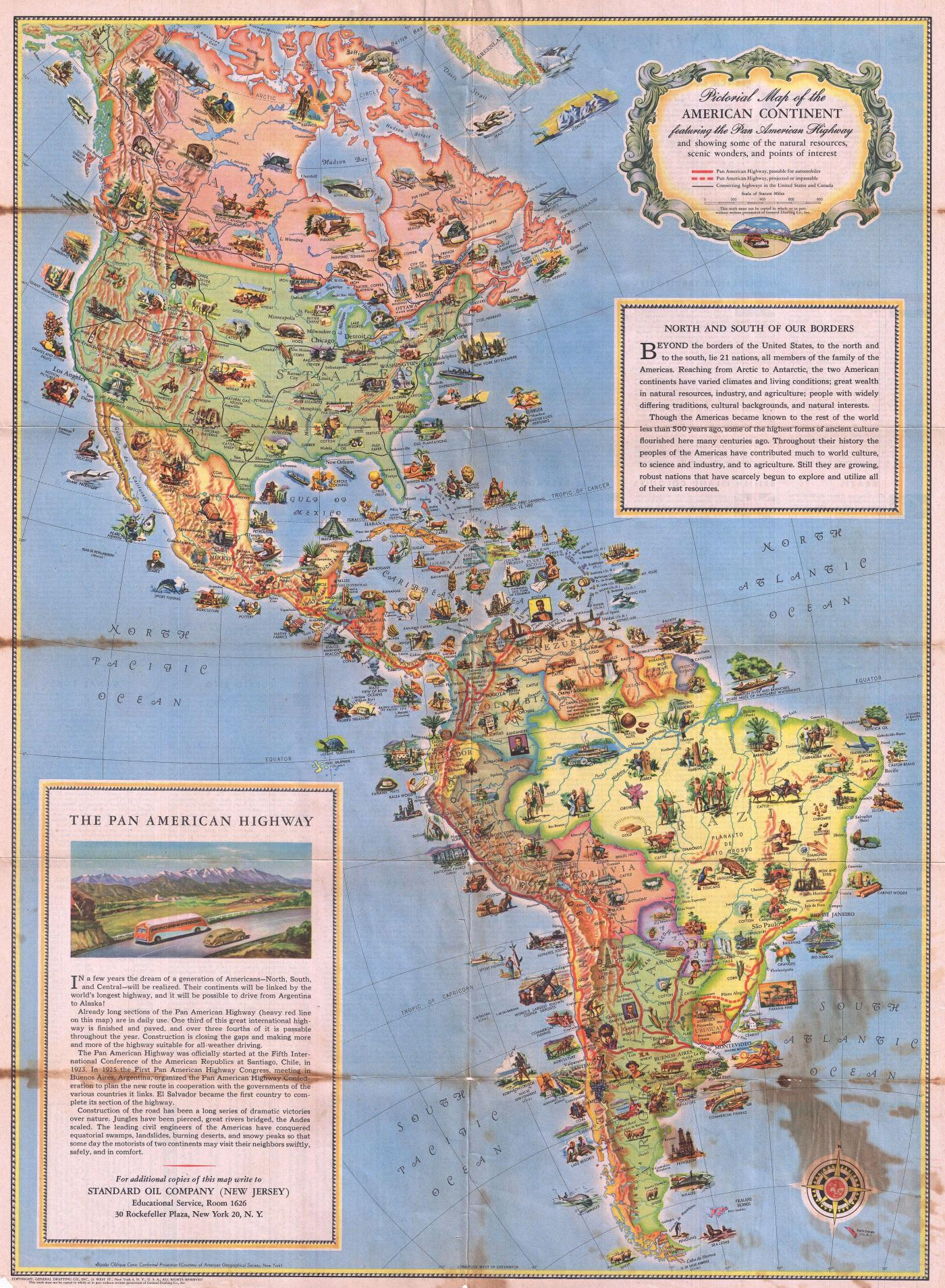 pictorial map of the american continent 1930 map collection