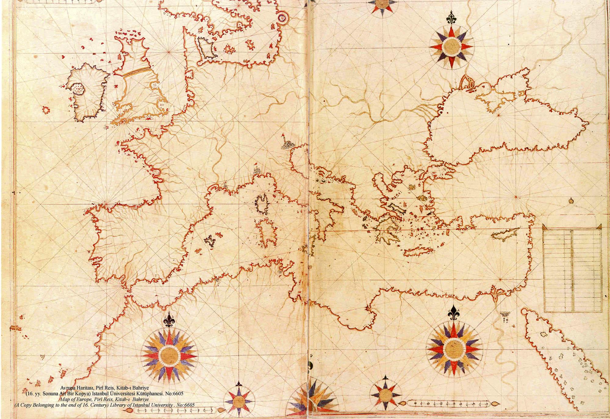piri reis map of europe and the mediterranean sea