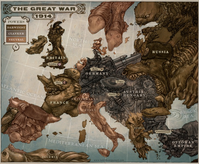 Caricature map of Europe, 1914