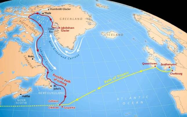 Route of the Titanic and a possible path for the iceberg