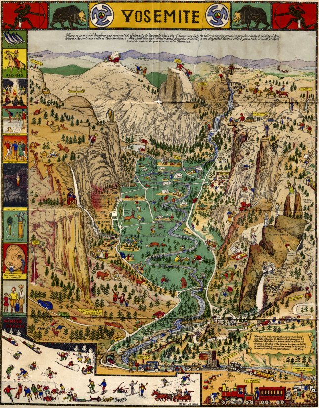 Yosemite valley pictorial map by Jo Mora, 1931