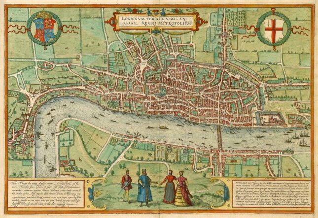 Antique map of London by Braun & Hogenberg