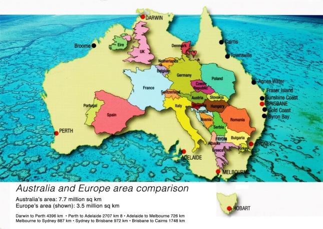 Australia and Europe area comparison
