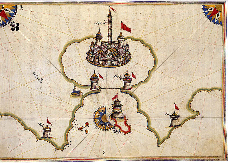 Historical map of Brindisi Italy by Piri Reis Map Collection