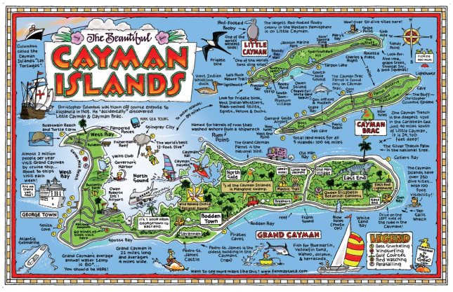 Pictorial map of the Cayman Islands