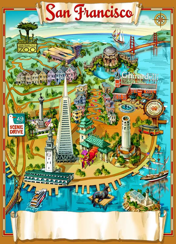 Illustrated Map Of San Francisco Map Collection