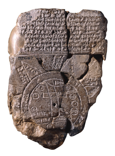 An ancient Babylon map of the known world was drawn on  and