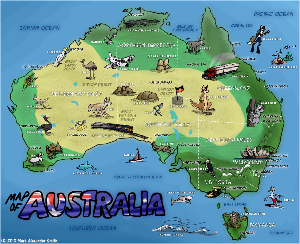 Map Of Australia Funny.Pictorial Map Of Australia Map Collection