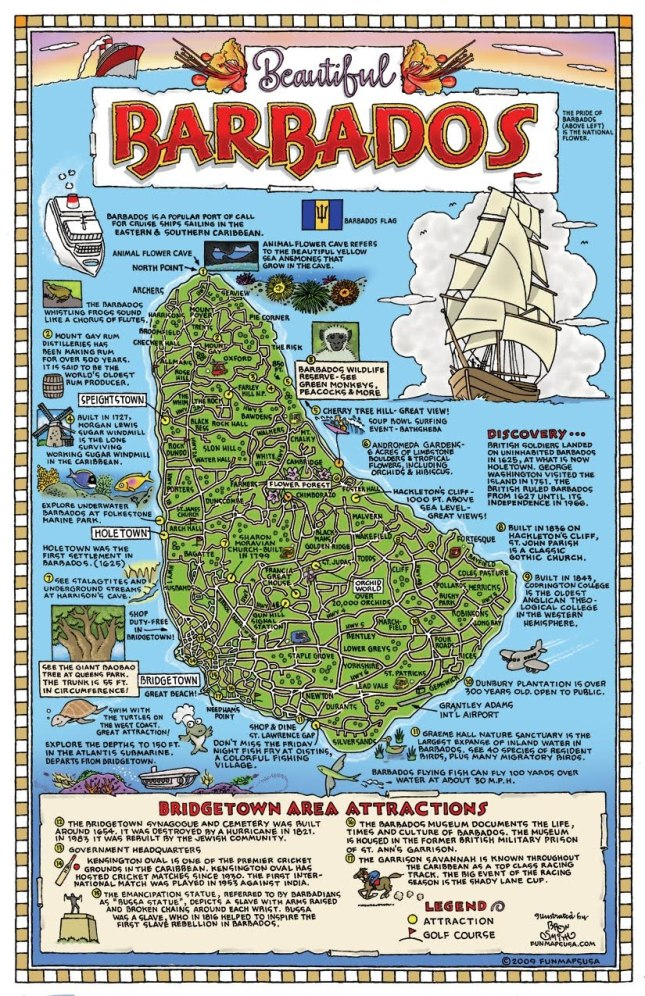 Pictorial map of Barbados
