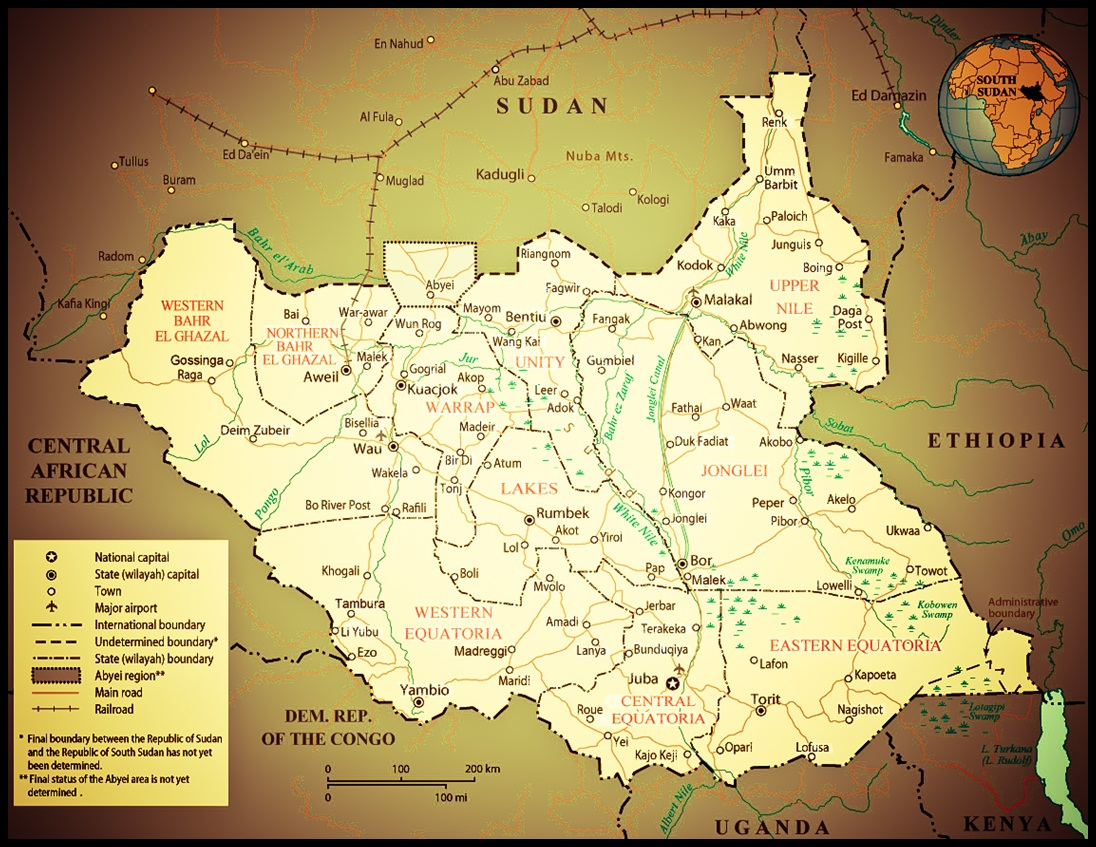 Worlds newest country south sudan map collection worlds newest country south sudan gumiabroncs Images
