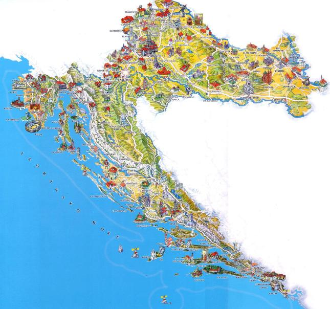 Tourist map of Croatia