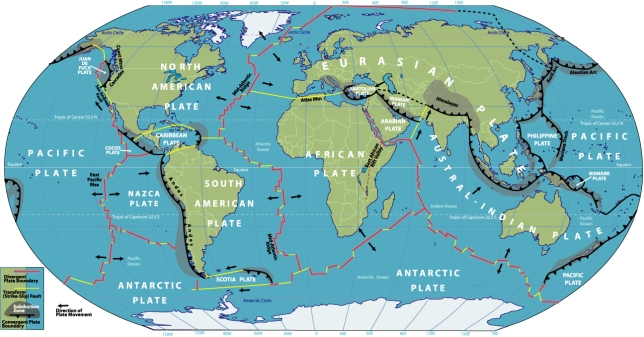 World map of Tectonic plate boundaries