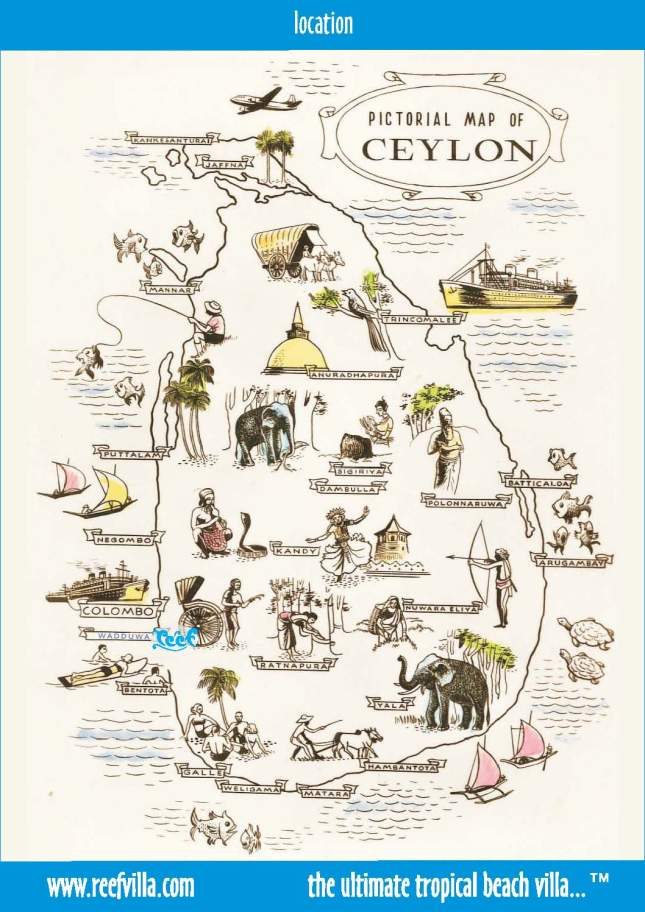 Pictorial map of Ceylon (Sri Lanka)